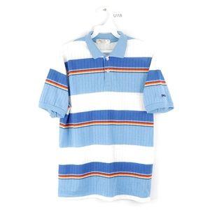 Vintage 80s Streetwear Colorful Striped Golf Shirt